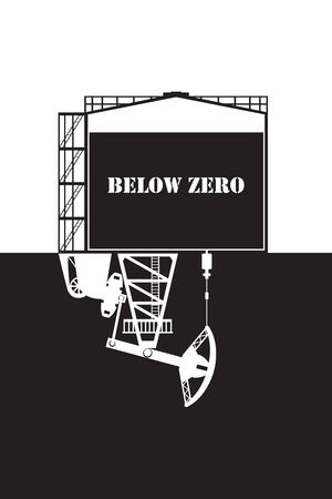Oil prices crash below zero concept vector illustration. Pumpjack pumps out petroleum from the storage.