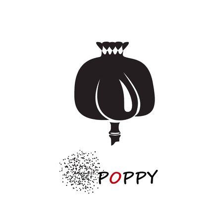 Poppy head and seeds vector illustration. Papaver somniferum сapsule silhouette.