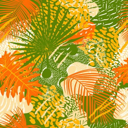 Tropical leaves and birds plumage seamless pattern illustration. Animal and plant bright colors print. Illusztráció