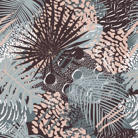 Tropical leaves and birds plumage seamless pattern  illustration. Animal and plant ash and pink colors print. Illusztráció
