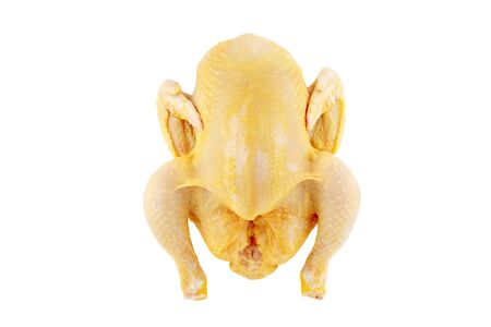 Raw whole yellow corn fed chicken isolated on white. Banco de Imagens