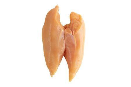 Raw yellow corn fed chicken breast isolated on white. Poultry filet.
