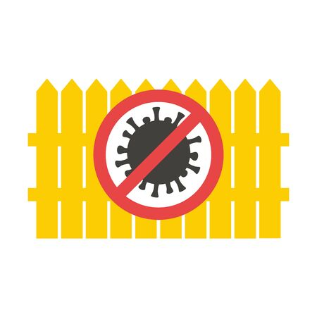 Stop coronavirus concept vector illustration. Yellow fence with prohibition sign. Barrier for infection transmission.