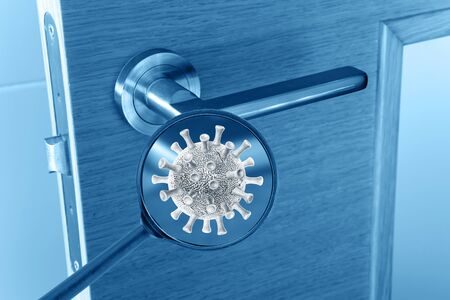 Covid virus cell on the door handle magnified image. Transmission of the infection medical concept.  Banco de Imagens