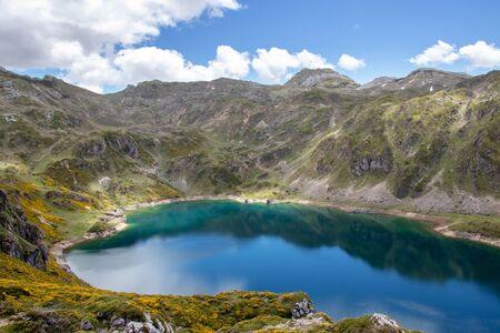 Calabazosa or Black lake in the Somiedo national park, Spain, Asturias. Saliencia mountain lakes. Genista occidentalis yellow flowers. Dark blue water.