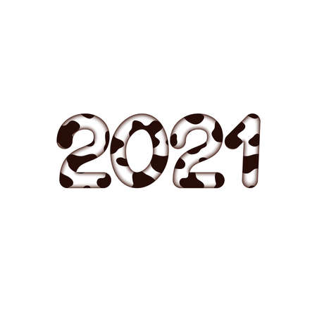 2021 new year digits covered with bull skin pattern 3d illustration Stock fotó
