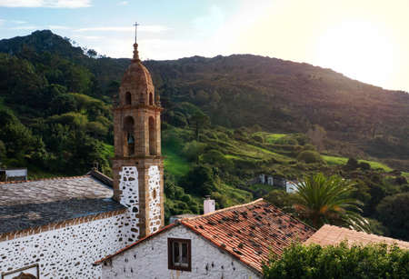 San Andres De Teixido shrine at the sunset in Galicia, Spain. Popular pilgrims destination.