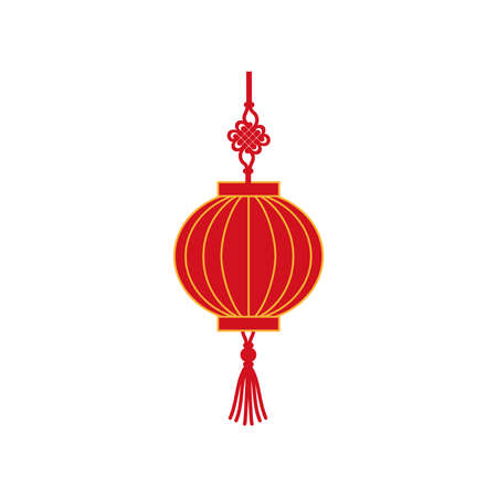 Chinese red holiday lantern flat vector illustration. Traditional lamp from China.