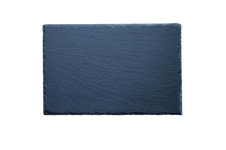 Black stone slate rectangular flat plate isolated on white. Stone cheese board.