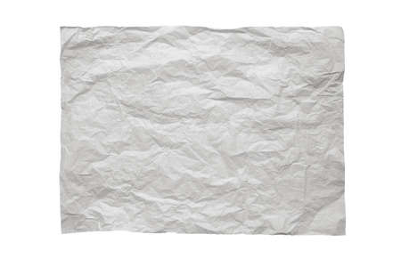 Recycled gray packing paper crumpled sheet isolated on white.