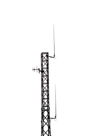 Telecommunication mast or mobile mast with antennas black silhouette isolated on white Reklamní fotografie