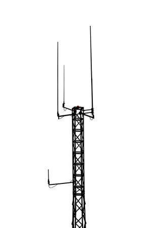 Telecommunication mast or mobile tower with antennas black silhouette isolated on white