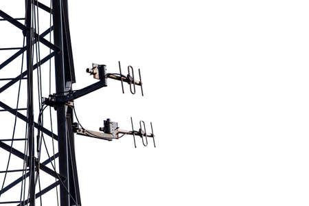 Telecommunication aerial antennas on the metallic mast black silhouette isolated on white Standard-Bild