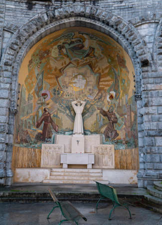 LOURDES, FRANCE - October 12, 2020: External Saint Pascal Baylon chapel of the Basilica Our Lady of the Rosary, Lourdes, France Editorial