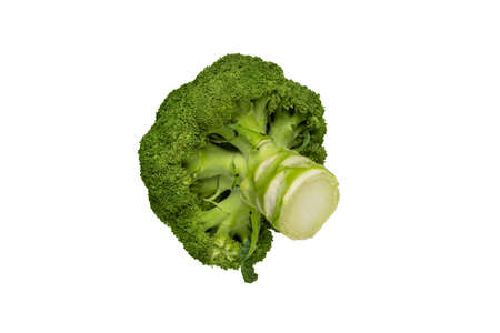 Green broccoli cabbage flowering head isolated on white