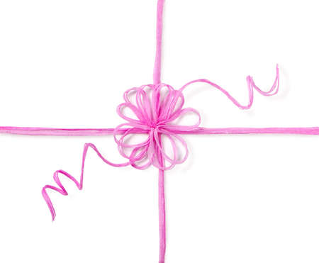 Pink rope flower form knot isolated on white. Holidays packing bow. 写真素材