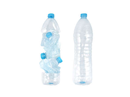 Whole and crushed plastic bottles isolated on white. Efficient garbage transportation concept. Volume comparison.