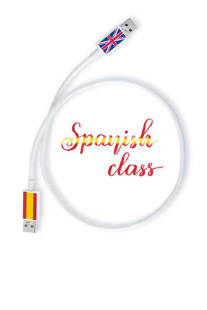 Spanish language class concept illustration and lettering. Spain and Great Britain flags on the ends of communication cable.