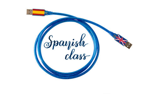Spanish class concept illustration and lettering. Spain and Great Britain flags on the ends of blue communication cable.