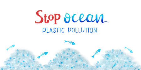 Stop ocean plastic pollution concept. Dead fishes and crushed plastic bottles sea. Hand drawn lettering. 写真素材