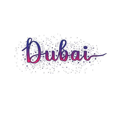 Dubai lettering sunset colors and stars vector illustration