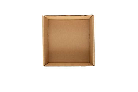Opened empty brown flat square cardboard box top view. Shipment package.  Isolated on white.