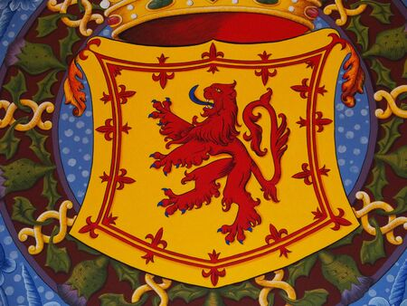 Painting of red scottish lion rampant symbol of SCOTLAND on armorial bearings in STIRLING castle in SCOTLAND, GREAT BRITAIN UK, EUROPE, AUGUST Stock Photo