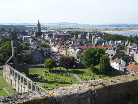 saint: St Andrews city in Scotland with view on ruins of gothic cathedral Stock Photo