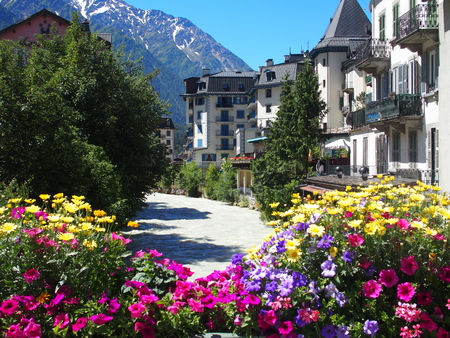 CHAMONIX MONT BLANC village with high alpine mountains range landscape in french ALPS