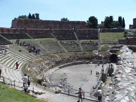 Ruins of ancient greek and roman theatre in Taormina Editorial