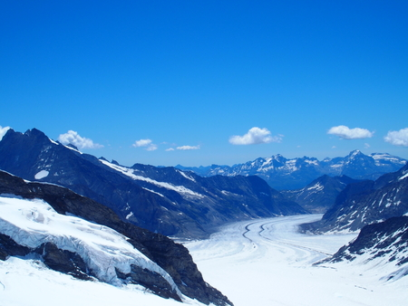 Aletsch Glacier in Swiss ALPS landscape at Jungfrau high alpine mountains range in Switzerland, several beauty clouds on clear blue sky in 2016 warm sunny winter day, CANTON OF BERN, Europe on July.