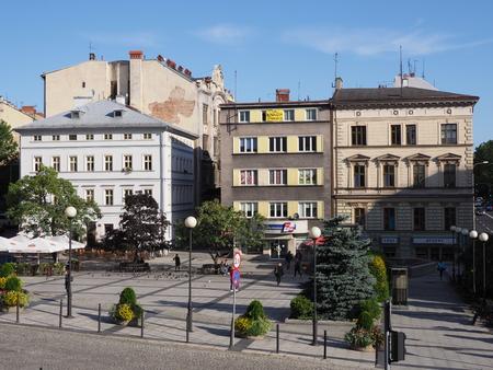 Representative historical buildings on main square in city center of Bielsko-Biala in Poland