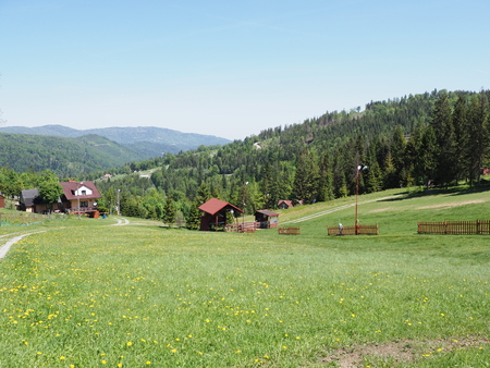 Fabulous landscapes of grassy field and forest at Beskid Mountains range in european Salmopol pass at Bialy Krzyz village Stock Photo