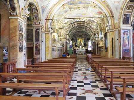 Historical interior of Madonna del Sasso church with wooden furniture, decorative ceiling in Locarno city in Switzerland Editorial