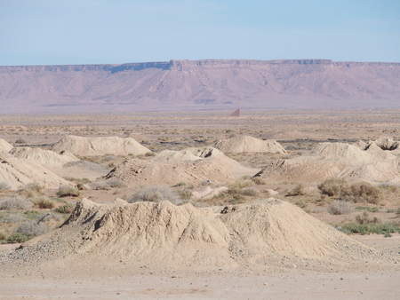 Great panorama of Ketthara, a water well at african Sahara desert landscapes near city of Erfoud in Morocco