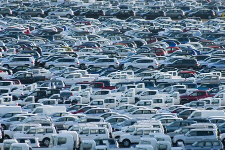 carpark: 1000s of new cars waiting for their owners Stock Photo