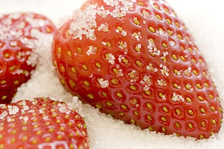 high key image of strawberries coated in sugar Stock Photo