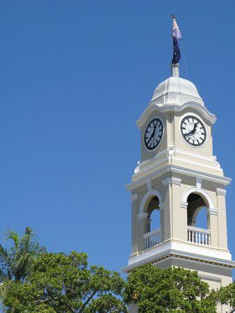 qld: close up on the cityhall clock tower, maryborough, QLD