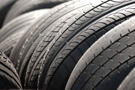 A pile used car tyres awaiting recycling Stock Photo - 4570860