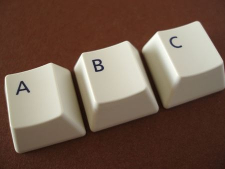 A B and C keys from a computer keyboard, concept �computer learning�