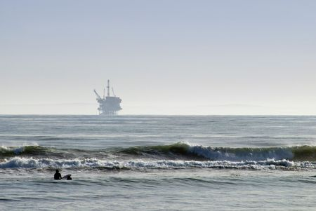 An off-shore oil platform on the pacific coast, off California