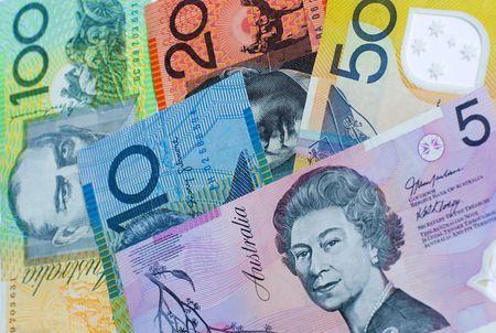 Five different denominations of Australian dollar notes