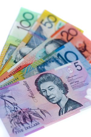 5 different denominations of australian bank notes
