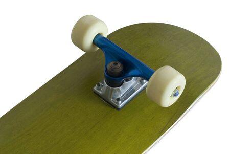 underside of a skateboard deck with blue metallic trucks