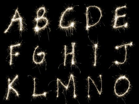 Capital letters A to O written in sparkler trails, other letters numbers and symbols available separately