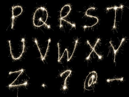 sparkler: Capital letters R to Z written in sparkler trails, other letters numbers and symbols available separately