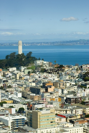 coit tower: Coit tower San Francisco as viewed from Nob Hill Stock Photo