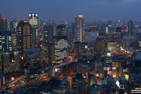 Panoramic view of Osaka Japan by night