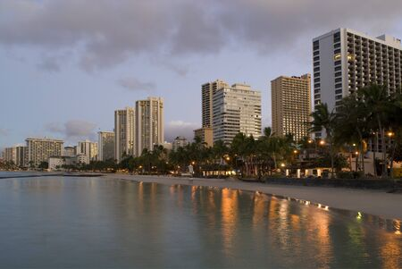 Sunrise over the resort hotels blocks at Waikiki beach, Honolulu, Hawaii Stock Photo - 14557183