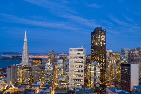 Spectacular evening view over the office buildings of downtown San Francisco